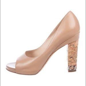 CHANEL Beige /Nude Leather Peep-toe Pumps It39.5